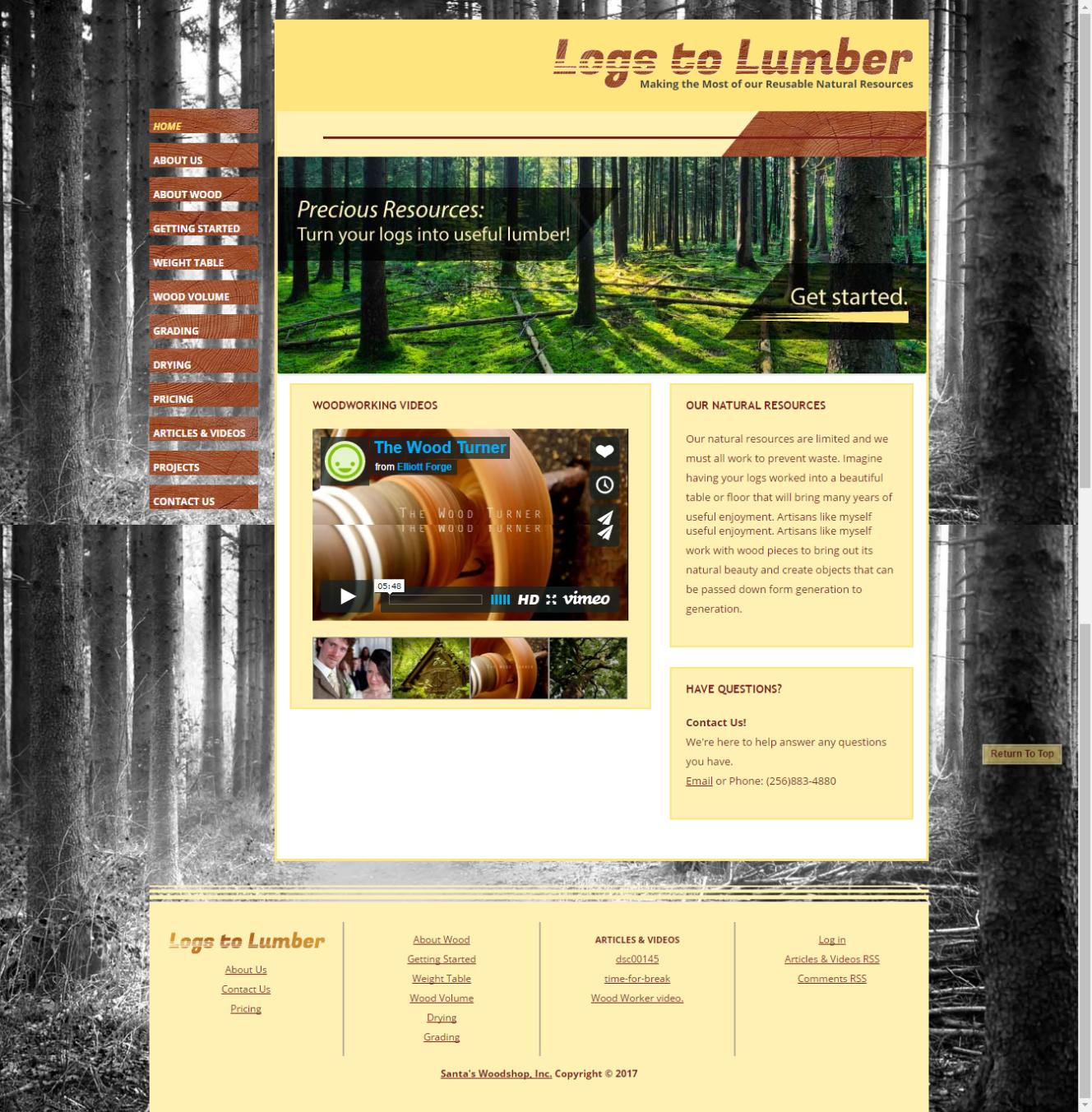 Website Design Logs to Lumber