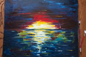 Sunset Ocean . colorful vivid large oil painting . 30×24 canvas